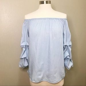 Jane & Delancey Off Shoulder Ruffle Top Chambray
